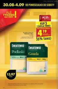 Ser żółty w plastrach (Podlaski, Gouda) Światowid - Kup 3 i zapłać mniej z kartą Mb - Biedronka