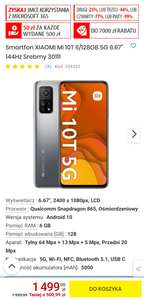 "Smartfon XIAOMI Mi 10T 6/128GB 5G 6.67"" 144Hz Srebrny"