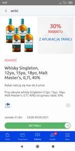 whisky singleton 12, 15, 18, malt master's - 30% taniej z apka Carrefour