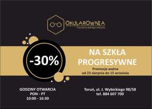 OKULAROWNIA TORUŃ - rabat 30% na szkła progresywne