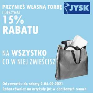 15% rabatu na wszystko co zmieścisz w torbie (2-4.09) - Jysk