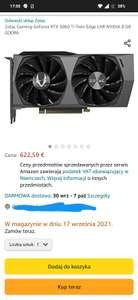Karta graficzna Geforce rtx 3060 ti zotac - 643 euro
