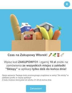 -10 zł w WOLT na zakupy z zakładki SKLEPY