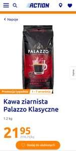 Kawa ziarnista Palazzo Klasyczne 1,2 kg oraz Palazzo Dark Roast 1,2kg (100% Arabica). Sklep Action