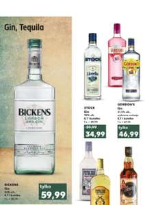 Gin Bickens 0,7l i inne giny: Gordon's 0,7l i Stock 0,7l. Kaufland