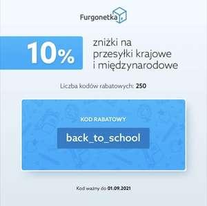 250 kuponów 10% rabatu w Furgonetka.pl na przesyłki krajowe i zagraniczne