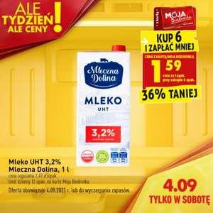 Mleko UHT 3,2% Mleczna Dolina - cena przy zakupie 6 szt.