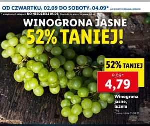 Winogrona jasne 4,79 PLN / kg @lidl