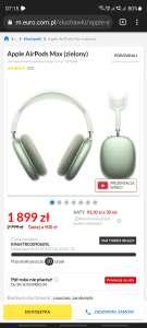 słuchawki bezprzewodowe Apple Airpods Max w kolorze zielonym
