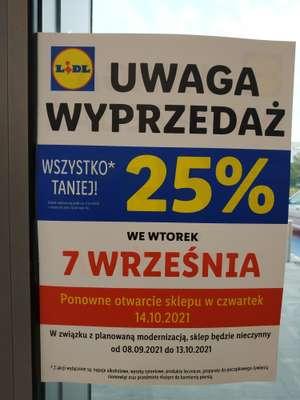 Lidl Lindego Kraków wszystko 25% taniej
