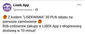 30 zł rabatu na pierwsze zamówienie   LISEK (nowy kupon)