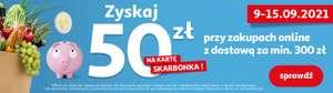 """Auchan direct """"Zgarnij bonus 50 zł na kartę Skarbonka za zakupy powyżej 300 zł."""""""