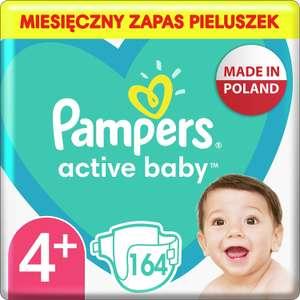 Pampers Active Baby Pieluszki, rozmiar 4+, 164 pieluszek, ochrona przed przeciekaniem przez całą dobę, 10kg-15kg