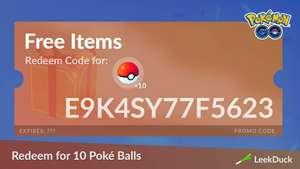 Pokemon GO - kod na darmowe 10 zwykłych pokeballi.