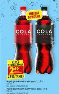 Napój gazowany Cola original 1,5 L (1,66 zł/litr) przy zakupie 3szt.@ Biedronka
