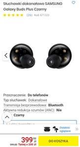 Słuchawki dokanałowe SAMSUNG Galaxy Buds Plus Czarny