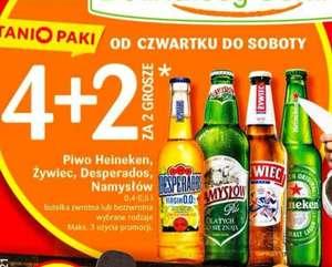 Piwo Namysłów, Heineken, Desperados i Żywiec 4+2 za 2gr @Delikatesy Centrum