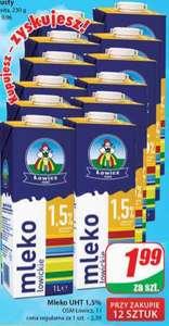 Mleko Łowickie UHT 1,5% @Dino przy zakupie 12 szt.