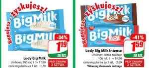 Lody Big Milk, Grzeski, Lion i Kit-Kat w super cenach różne rodzaje przy zakupie 2szt./Dino/