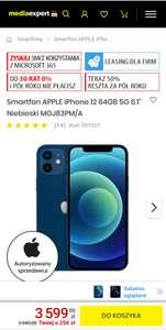 """Smartfon APPLE iPhone 12 64GB 5G 6.1"""" Niebieski"""