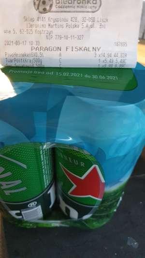 Biedronka / piwo Heineken w puszce 0,5l (przy zakupie 6-paku)