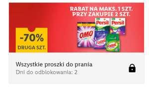 Wszystkie proszki do prania 70% taniej na drugą sztukę przy zakupie 2 szt w aplikacji Lidl/