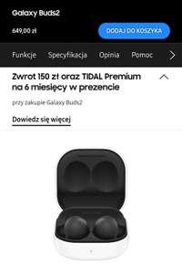 Słuchawki Galaxy Buds 2 ze zwrotem 150 zł i tidalem na 6 miesięcy
