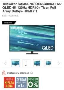 "Telewizor SAMSUNG QE65Q80AAT 65"" QLED 4K 120Hz HDR10+ Tizen Full Array Dolby+ HDMI 2.1"
