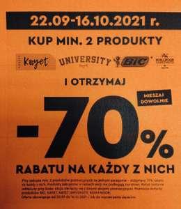 BIEDRONKA -70% przy zakupie 2 sztuk artykułów szkolnych (Dotyczy marek: BIC, KAYET, KAYET UNIVERSITY, KOH-I-NOOR)- promocja lokalna