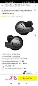 Słuchawki dokanałowe JABRA Stereo Elite 65t