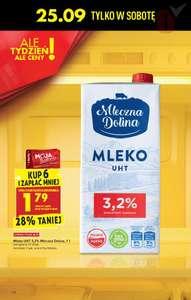 Mleko uht 3,2 % mleczna dolina - kup 6 i zapłać mniej z kartą mb - Biedronka