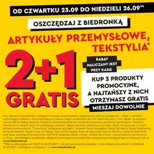Artykuły przemysłowe i tekstylia 2+1 gratis - Biedronka
