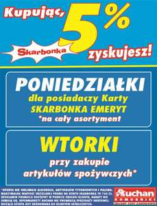 DZIEŃ EMERYTA AUCHAN 5% NA KONTO SKARBONKA!