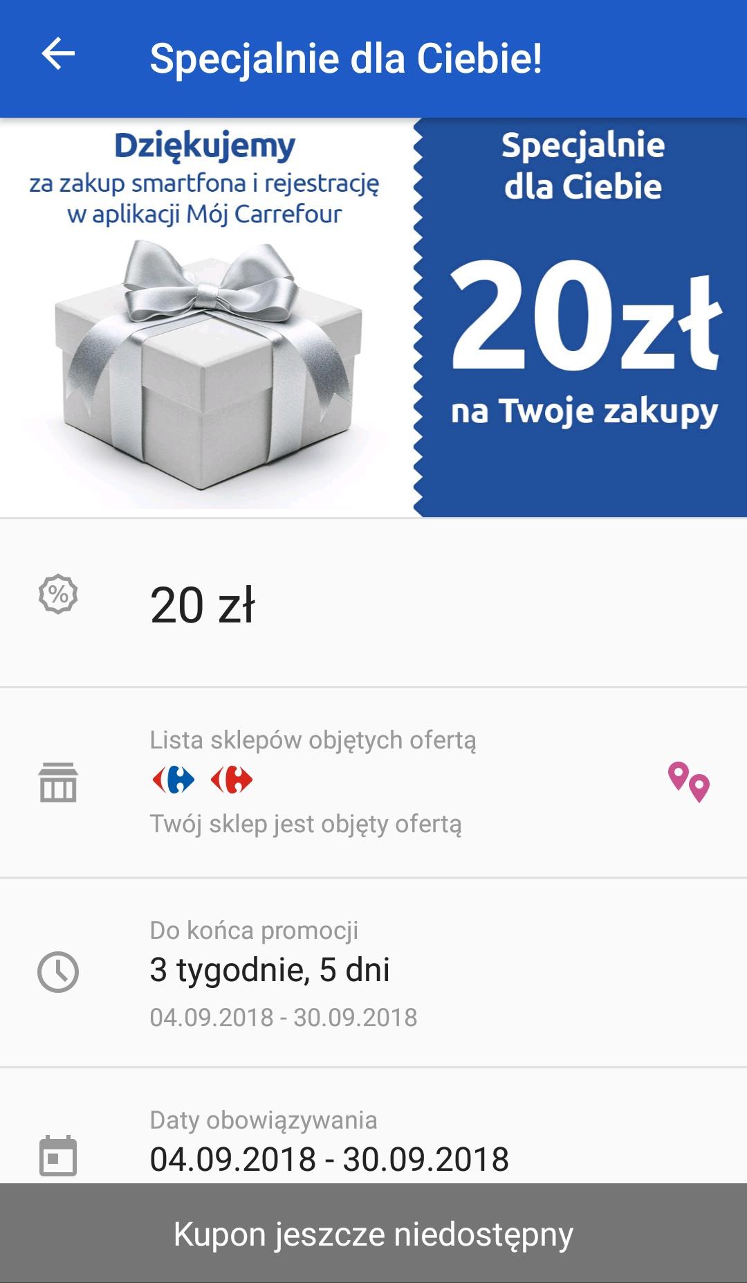 20 zł na zakupy MWZ 25 zł w aplikacji Carrefour (dla osób które nabyły smartfon)