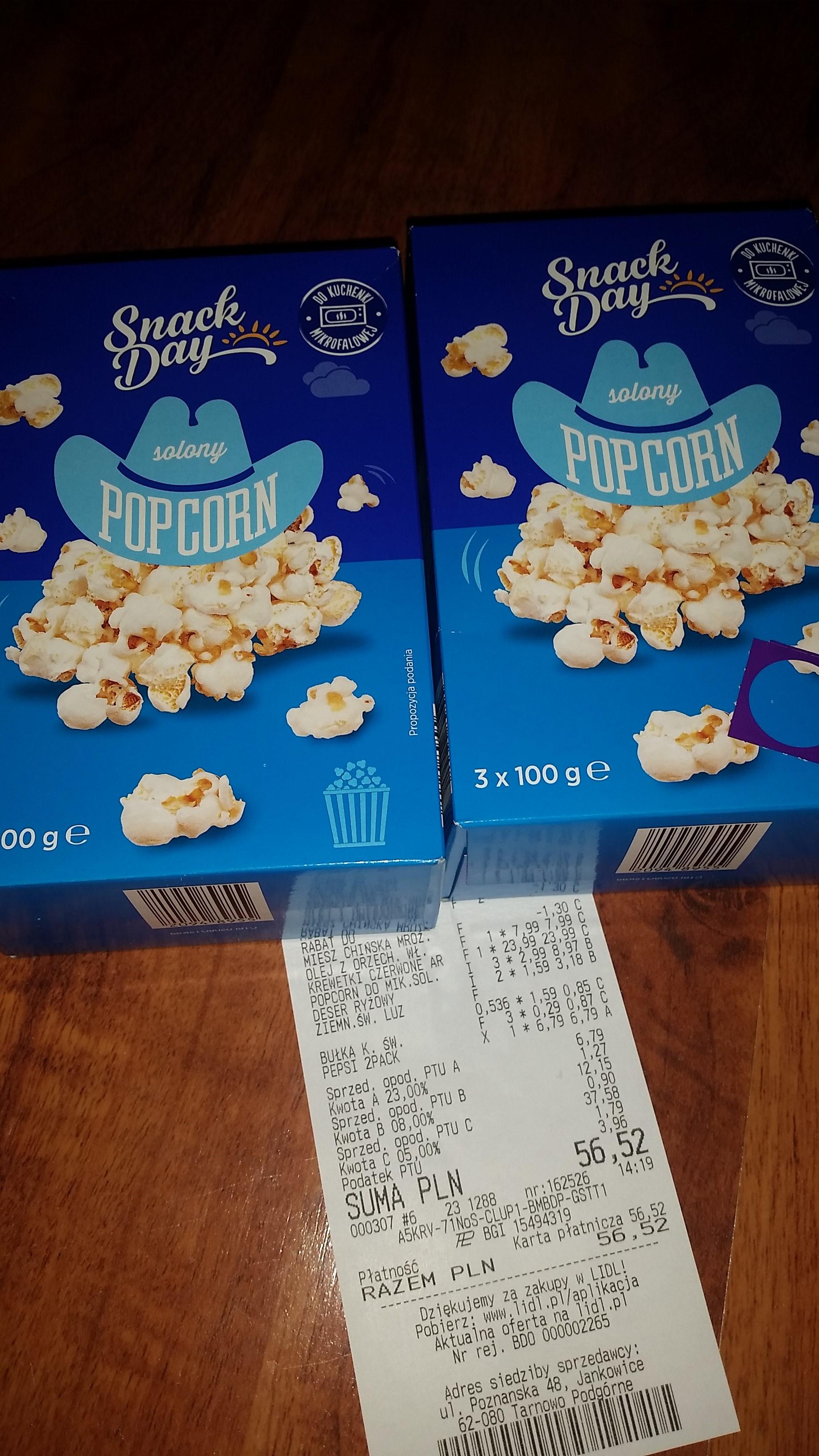 Popcorn do mikrofalówki 3pak Lidl 2,99zł