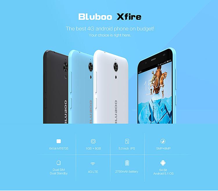 Bluboo Xfire 5.0inch Android 5.1 OS 1GB RAM 8GB ROM