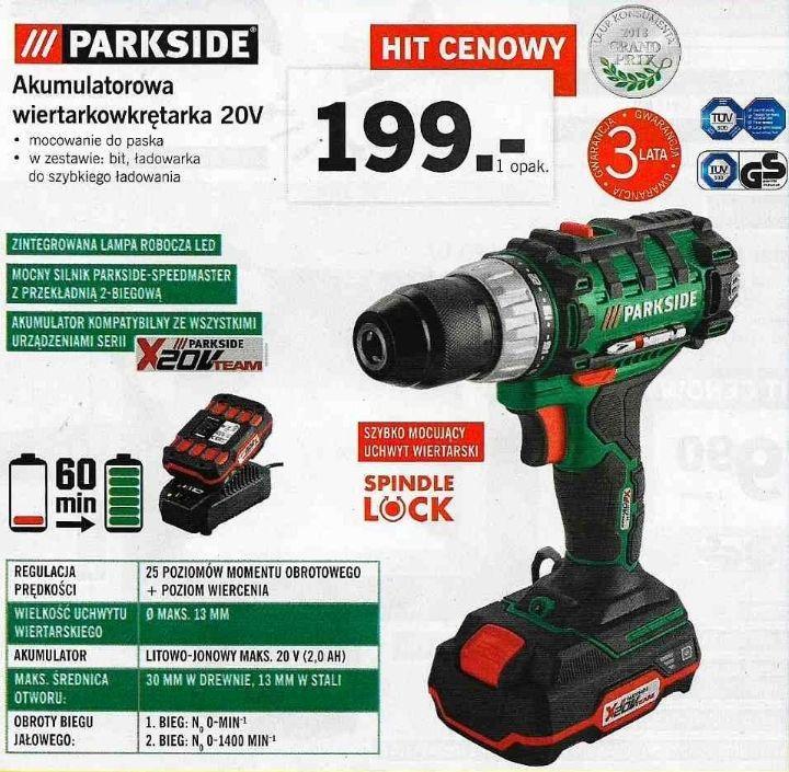 Parkside - akumulatorowa wiertarkowkrętarka 20V (3 lata gwarancji) @ Lidl