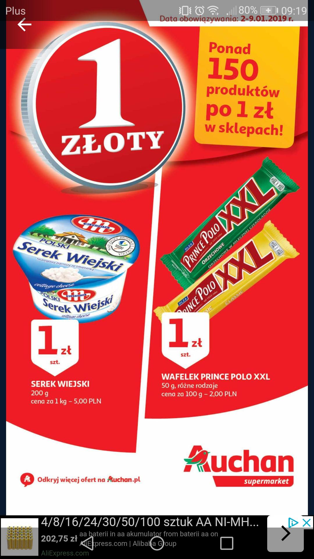 Auchan 150 produktów obniżonych do 1zł  OPIS