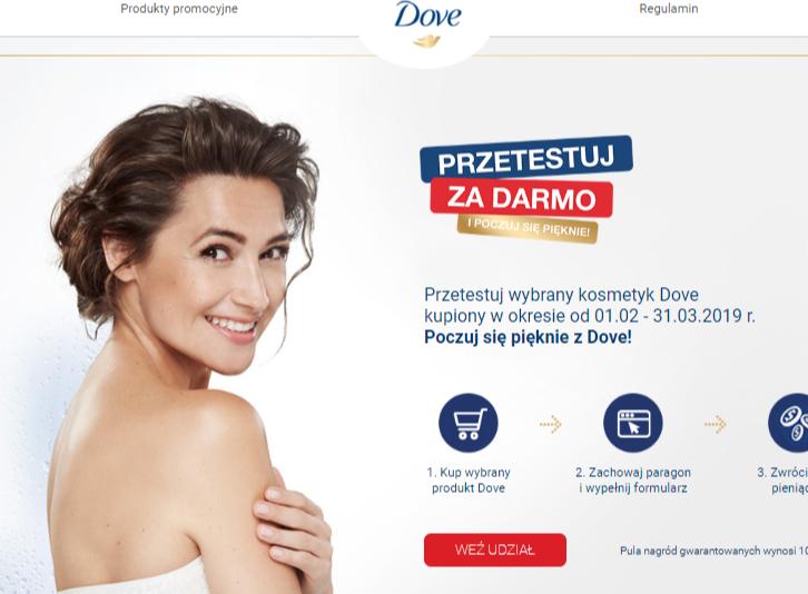 SMOLAR Przetestuj wybrany kosmetyk Dove kupiony w okresie od 01.02 - 31.03.2019 r.