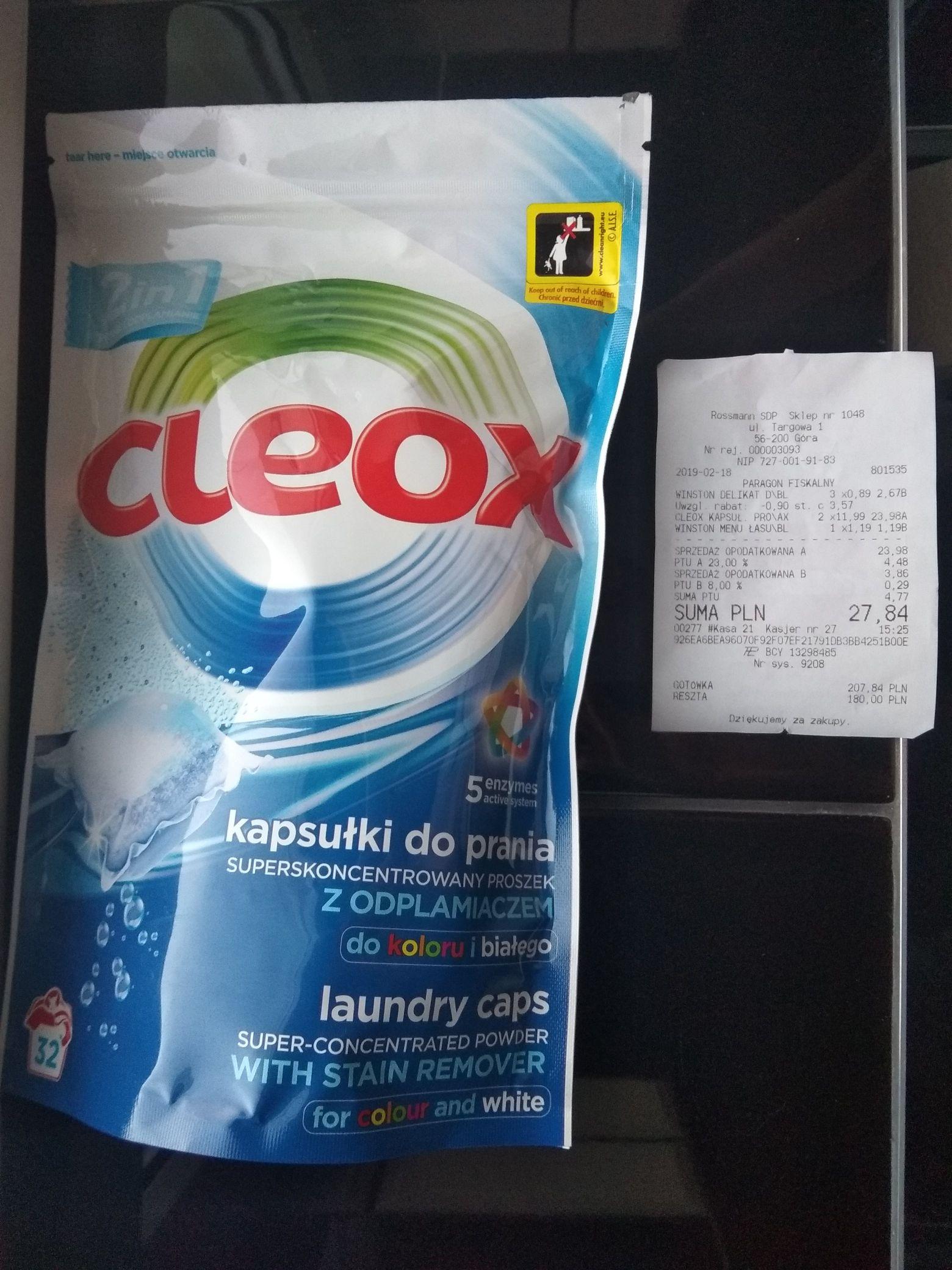 Kapsułki do prania Cleox 32szt- Rossmann