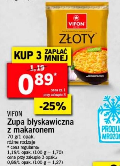 Promocja na zupki Vifon w Lidlu przy zakupie 3szt cena 0.89zl za sztuke.