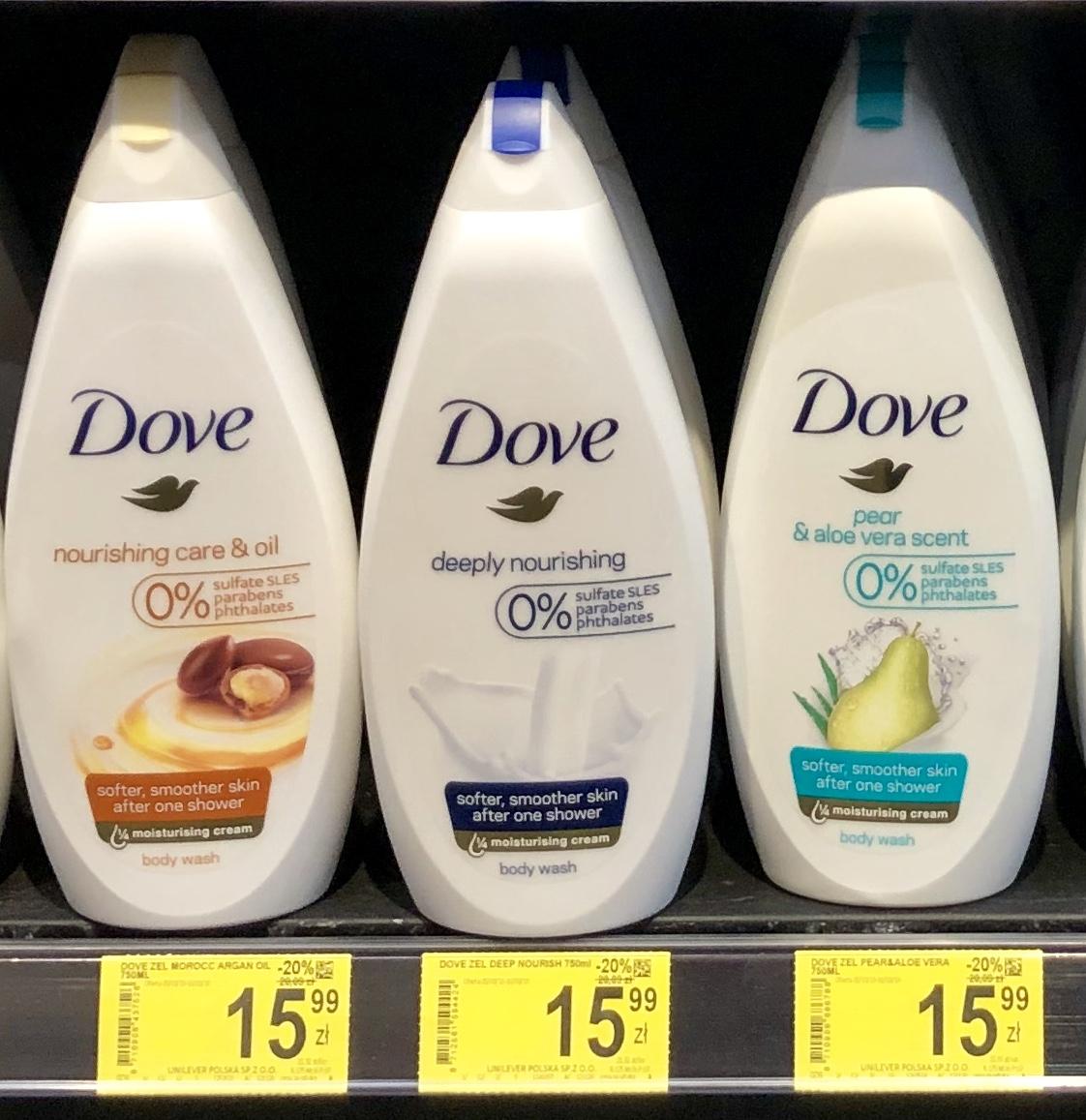 Żel pod Prysznic Dove 0% PARABENS