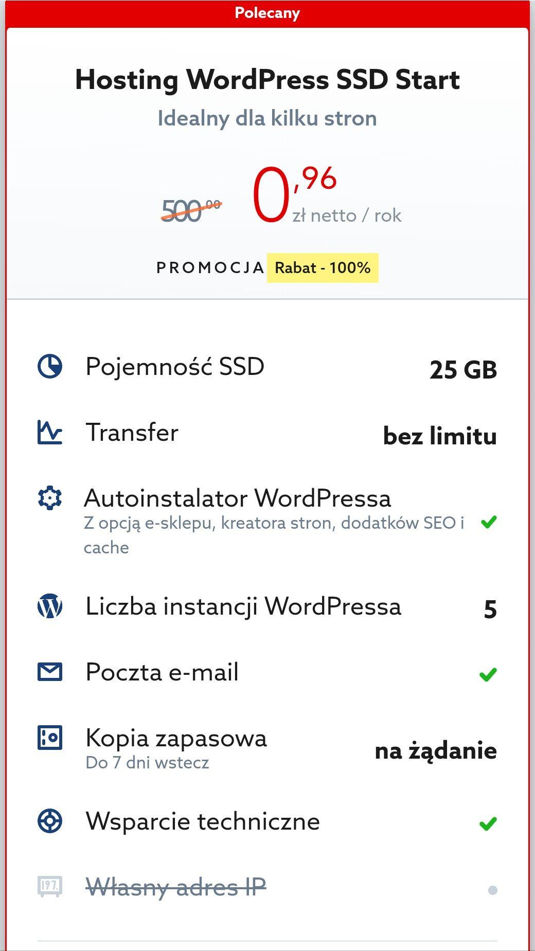Hosting Wordpress SSD na home.pl