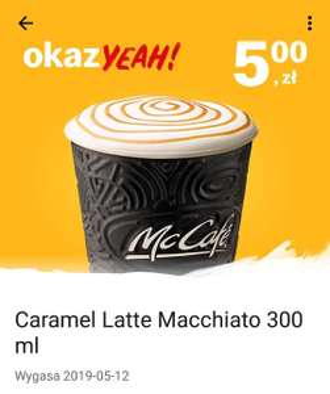 Caramel Latte Macchiato 300ml za 5zł w McDonald's KOD: 218579