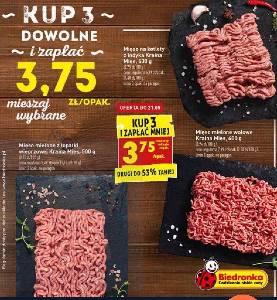 Mięso mielone 3,75 zł/szt przy zakupie 3 paczek - Biedronka