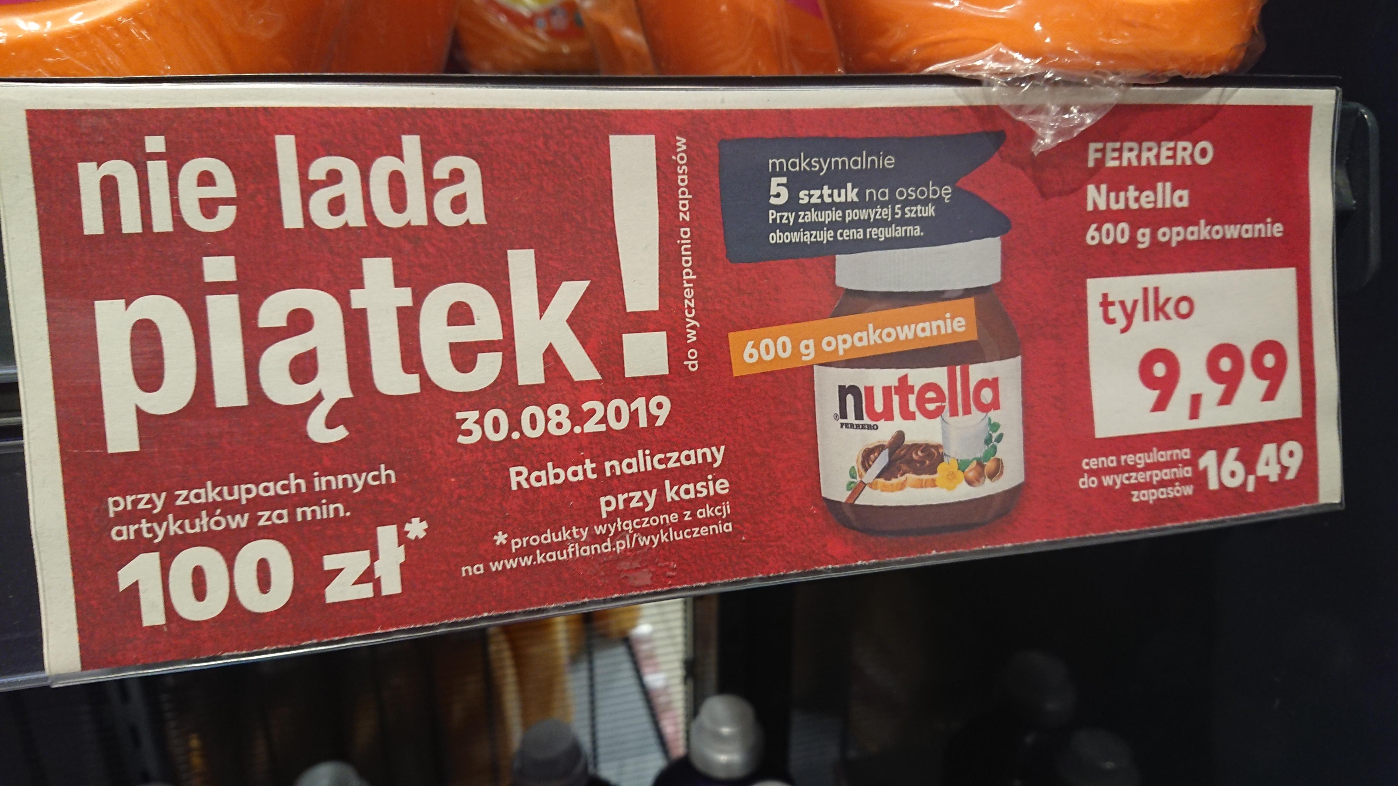 Nutella 600g przy zakupach za 100 zł