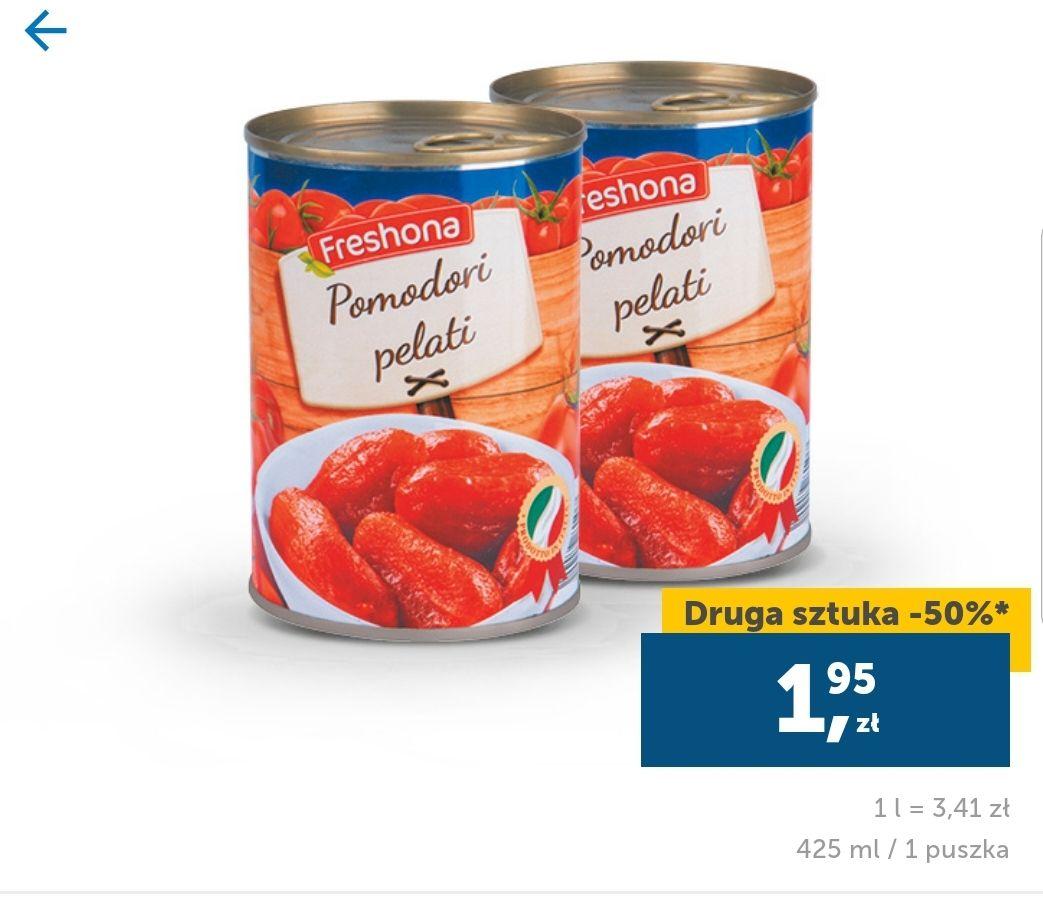 Pomidory w puszce. Obrane w sosie własnym. Cena przy zakupie dwóch sztuk. Lidl