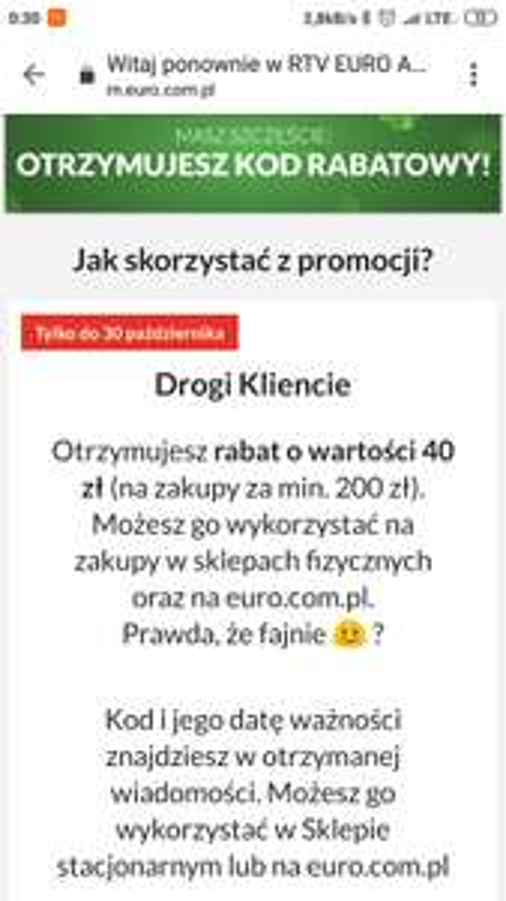 Rabat 40 zł za zakupy od 200 zł @RTV Euro AGD
