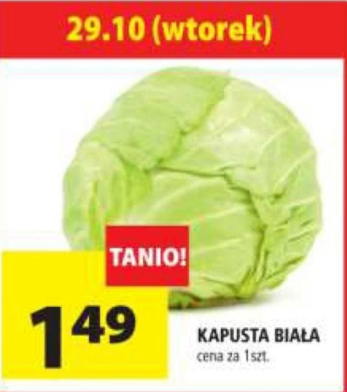 Kapusta biała 1,49 zł za sztukę, nie za kilogram (Sieć sklepów Archelan)