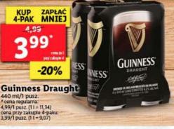 Guinness Draught 440 ml (cena za 1szt. przy zakupie 4szt.) @Lidl